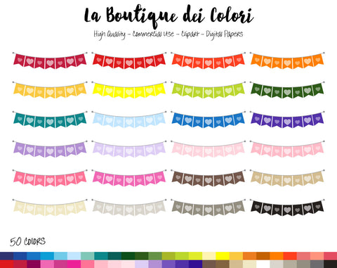 Heart Bunting Planner Clipart - La Boutique Dei Colori