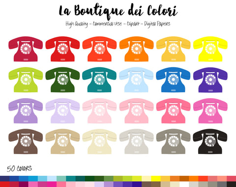 Vintage Phone Planner Clipart - La Boutique Dei Colori
