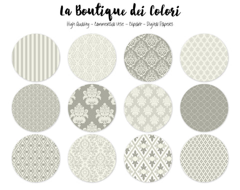 Ivory Damask Circles Clipart - La Boutique Dei Colori