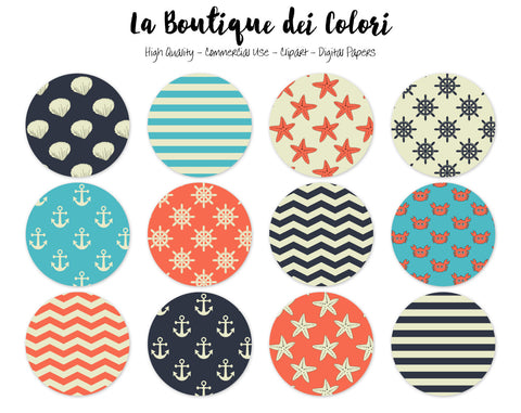 Nautical Circles Clipart - La Boutique Dei Colori