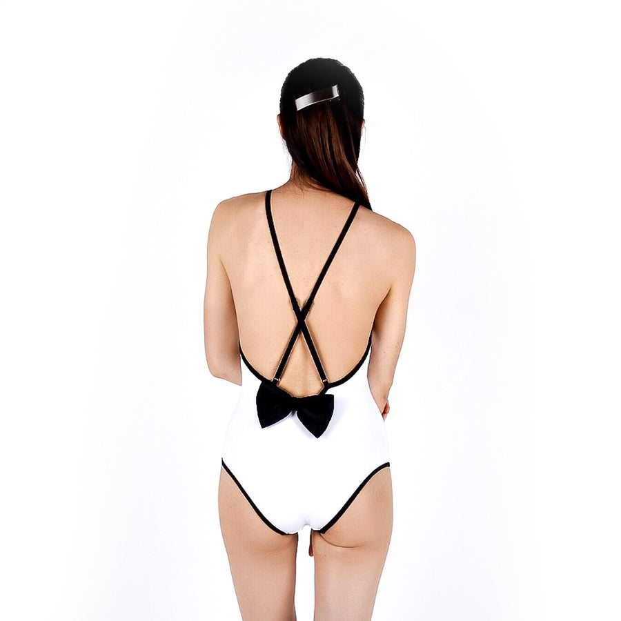 Crossback bow suit - WHITE