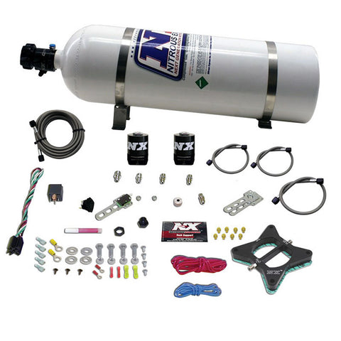 Nitrous Express 11-15 Ford Mustang GT 5.0L Coyote 4 Valve Nitrous Plate Kit (50-200HP) w/10lb Bottle