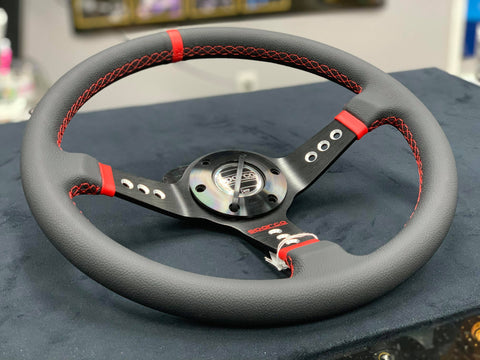150.00 Speedzone Performance LLC Sparco Inspired Leather Steering Wheel With Black Spokes
