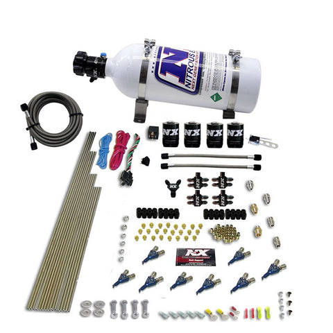 Nitrous Express 8 Cyl Piranha Direct Port 4 Solenoids Nitrous Kit (200-500HP EFI Jets) w/12lb Bottle
