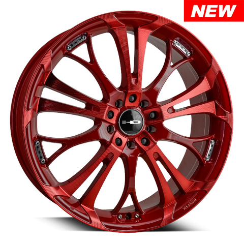 "HD Wheels Passenger Car Wheels 18x7.5 | 4x100/4x114.3 | et40mm | 5.8 in | 73.1mm HD Wheels Spinout | Red w ""Sonic Red"" Machining"