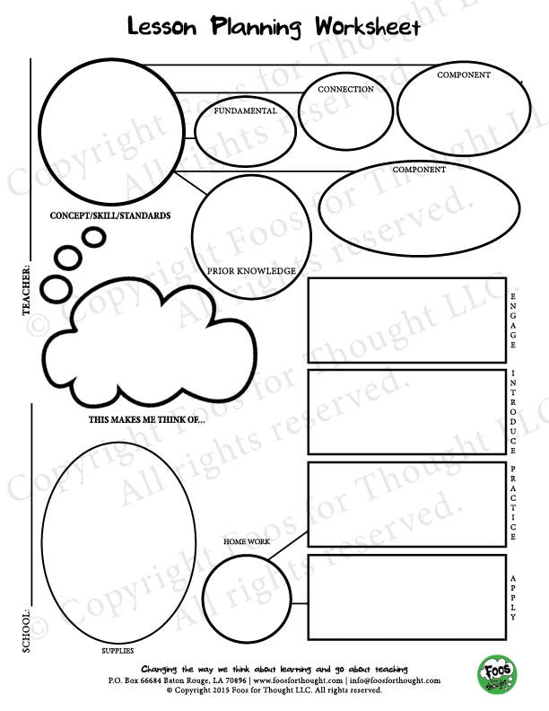 lesson planning worksheet foos for thought