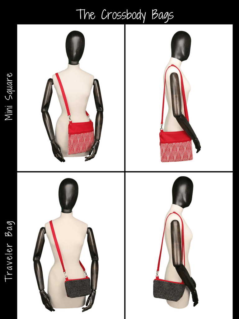 Size Chart for the Crossbody Bags - The Mini Square and The Traveler Belt Bag