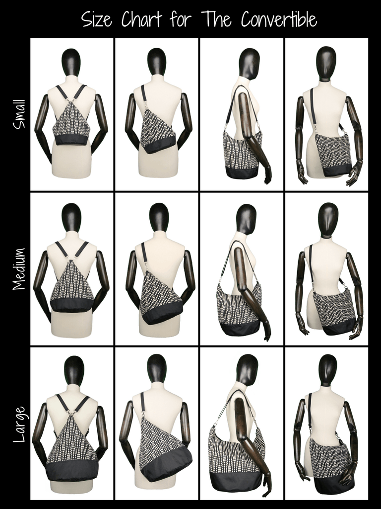 Photo Size Chart for Convertible Backpack Purse Bucket Bag
