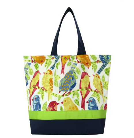 Birds | Navy Nylon with Green Ribbon | Large | RTS Essential Tote