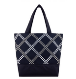 Black Dot Weave with Black and Grey Waterproof Nylon Ready-To Ship Essential Tote Bag by Tutenago - The perfect women's oversized tote bag for work, beach, shopping or an everyday bag.