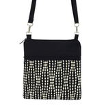 Black Wavy Dots with Black Nylon Mini Square Crossbody Bag by Tutenago