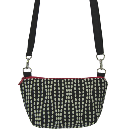 Wavy Dots in Black | Black Nylon | Pink Zipper | RTS Traveler Tote