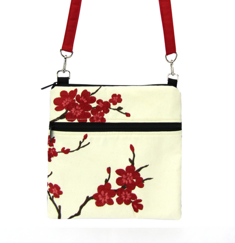 Cherry Blossom with Waterproof Black and Red Nylon Ready-To-Ship Mini Square Crossbody Bag by Tutenago