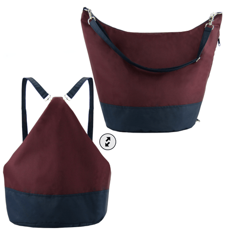 Burgundy & Navy Nylon Women's Convertible Hobo bag by Tutenago