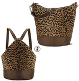 Cheetah Convertible Backpack Purse made with waterproof nylon - easily transforms into a crossbody messenger bag and sling bag