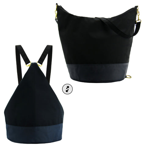 Black & Grey Nylon Women's Convertible Hobo bag by Tutenago