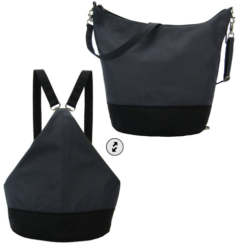 Dark Grey and Black Black Nylon Women's Convertible Hobo bag by Tutenago