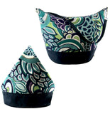 Teal Swirled Paisley with Navy Nylon Women's Convertible Hobo bag by Tutenago