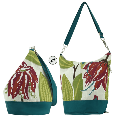 Tropical with Dark Teal Waterproof Nylon Ready-To-Ship Women's Convertible Hobo bag by Tutenago