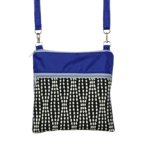 Wavy Dots in Black | Blue Nylon with Grey Zipper | Mini Square