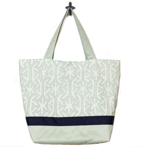 Sage Star with Light Green Nylon and Navy Ribbon Essential Tote Bag by Tutenago - The perfect women's oversized tote bag for work, beach, shopping or an everyday bag.