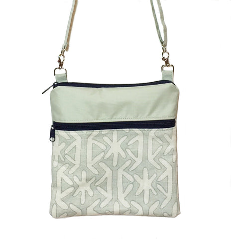 Teal Star with Light Green Bottom and Navy Ribbon Mini Square Crossbody Bag by Tutenago