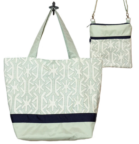 Sage Star with Light Green Bottom and Navy Ribbon Essential Tote Bag Set by Tutenago - The perfect women's oversized tote bag set to use as a diaper bag or beach bag with wet bag.