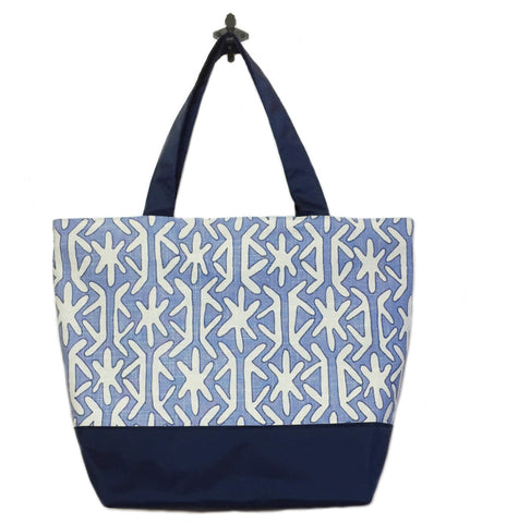 Navy Stars with Navy Nylon Essential Tote Bag by Tutenago - The perfect women's oversized tote bag for work, beach, shopping or an everyday bag.