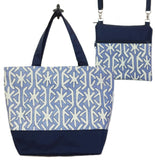 Navy Stars with Navy Nylon Essential Tote Bag Set by Tutenago - The perfect women's oversized tote bag set to use as a diaper bag or beach bag with wet bag.