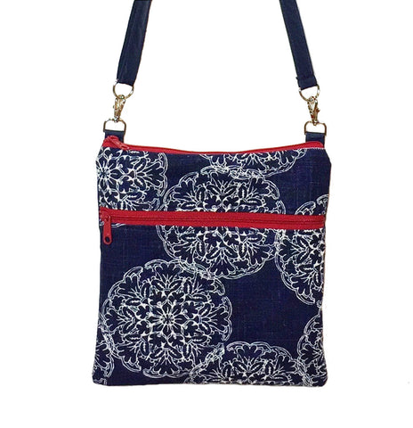 Navy Danda with Navy Nylon and Red Zipper Mini Square Crossbody Bag by Tutenago