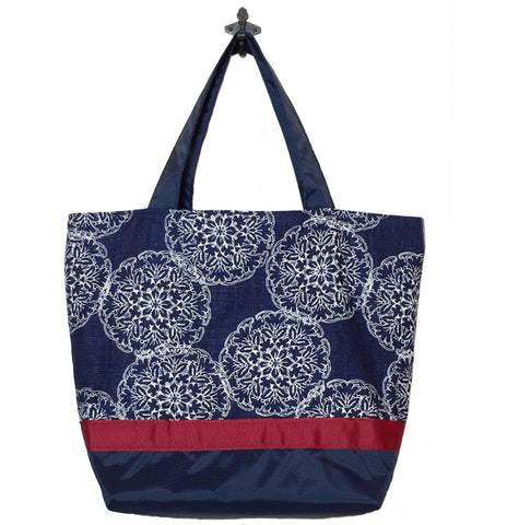 Navy Danda with Navy Nylon and Red Ribbon Essential Tote Bag by Tutenago - The perfect women's oversized tote bag for work, beach, shopping or an everyday bag.
