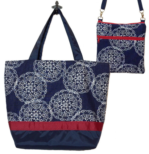 Navy Danda with Navy Nylon Essential Tote Bag Set by Tutenago - The perfect women's oversized tote bag set to use as a diaper bag or beach bag with wet bag.