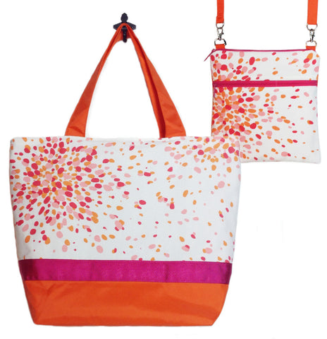 Pink Jelly Bean with Orange Nylon and Dark Pink Ribbon Essential Tote Bag Set by Tutenago - The perfect women's oversized tote bag set to use as a diaper bag or beach bag with wet bag.