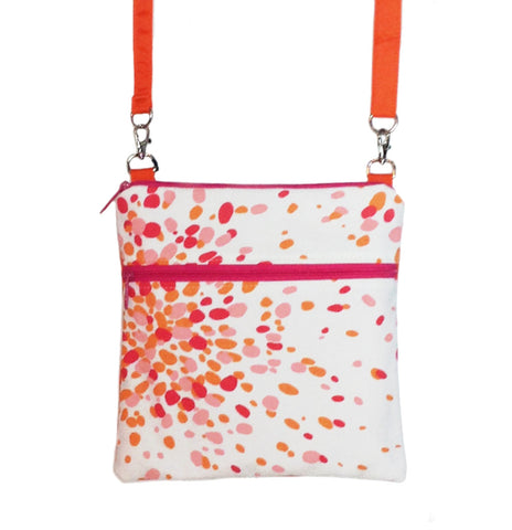 Pink Jelly Bean with Orange Nylon and Pink Zipper Mini Square Crossbody Bag by Tutenago