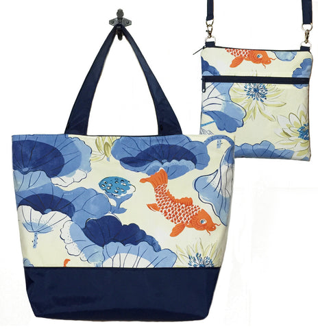 Koi Fish with Navy Nylon Essential Tote Bag Set by Tutenago - The perfect women's oversized tote bag set to use as a diaper bag or beach bag with wet bag.