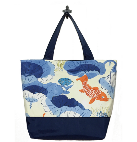 Koi Fish with Navy Nylon Essential Tote Bag by Tutenago - The perfect women's oversized tote bag for work, beach, shopping or an everyday bag.