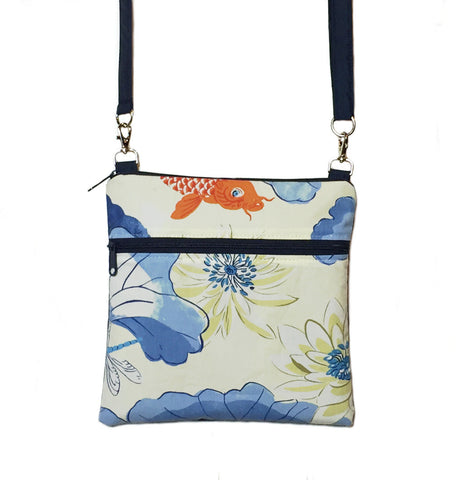 Koi Fish with Navy Nylon Mini Square Crossbody Bag by Tutenago