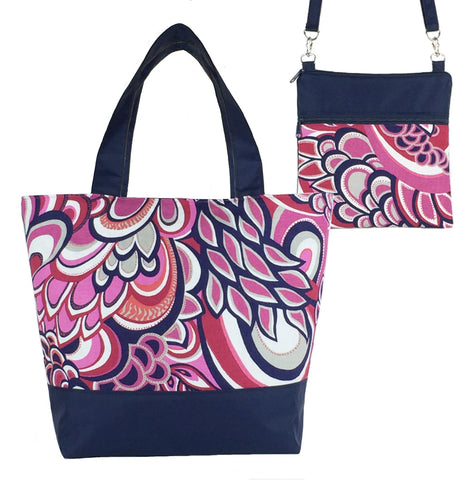 Pink Swirled Paisley | Navy Nylon | Tote Set | Photo