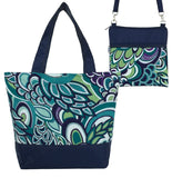 Teal Swirled Paisley with Navy Nylon Tote Bag Set by Tutenago - The perfect women's oversized tote bag set to use as a diaper bag or  beach bag with wet bag