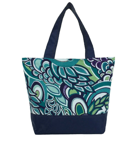 Teal Swirled Paisley with Navy Nylon Essential Tote Bag by Tutenago - The perfect women's oversized tote bag for work, beach, shopping or an everyday bag.