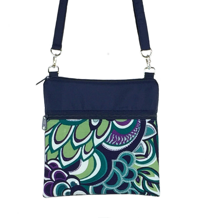 Teal Swirled Paisley with Navy Nylon Mini Square Crossbody Bag  by Tutenago