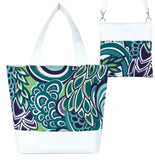 Teal Swirled Paisley with White Nylon Tote Bag Set by Tutenago - The perfect women's oversized tote bag set to use as a diaper bag or  beach bag with wet bag