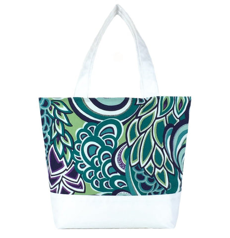 Teal Swirled Paisley with White Nylon Essential Tote Bag by Tutenago - The perfect women's oversized tote bag for work, beach, shopping or an everyday bag.