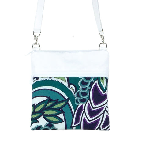 Teal Swirled Paisley with White Nylon Mini Square Crossbody Bag by Tutenago