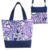 Purple Swirled Paisley with Navy Nylon Tote Bag Set by Tutenago - The perfect women's oversized tote bag set to use as a diaper bag, or  beach bag with wet bag