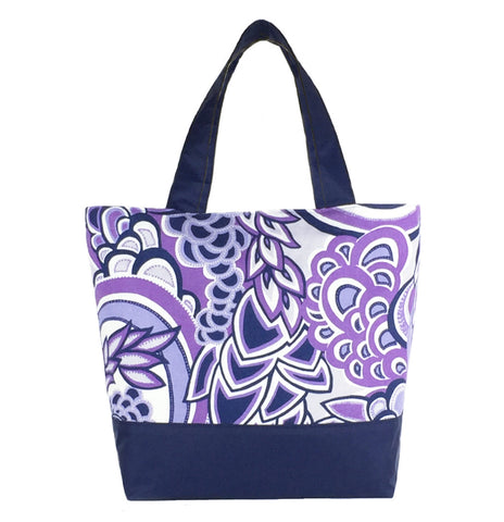 Purple Swirled Paisley with Navy Nylon Essential Tote Bag by Tutenago - The perfect women's oversized tote bag for work, beach, shopping or an everyday bag.