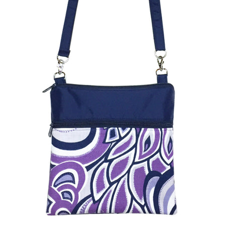 Purple Swirled Paisley with Navy Nylon Mini Square Crossbody Bag by Tutenago