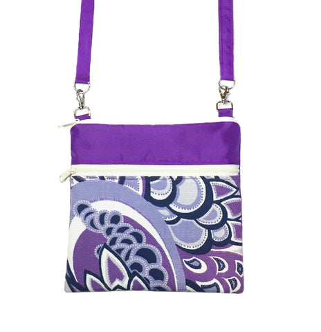 Purple Swirled Paisley with Purple Nylon Mini Square Crossbody Bag by Tutenago