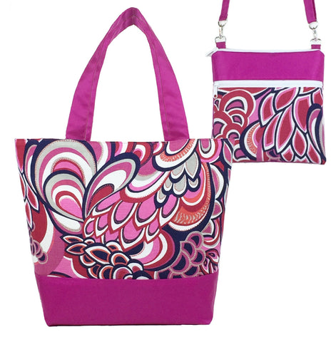 Pink Swirled Paisley | Pink Nylon | Tote Set | Photo