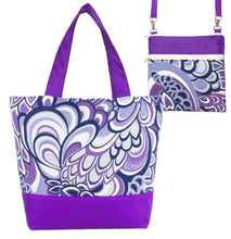 Load image into Gallery viewer, Purple Swirled Paisley with Purple Nylon Tote Bag Set by Tutenago - The perfect women's oversized tote bag set to use as a diaper bag, or  beach bag with wet bag